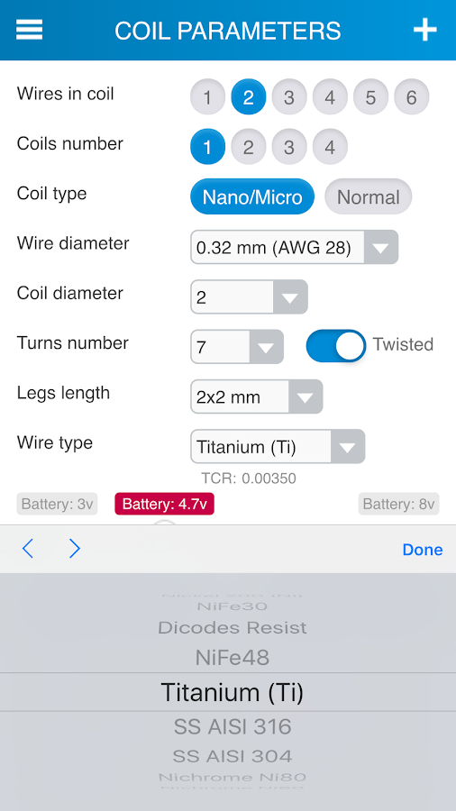 Reprova MicroCoil Calc- screenshot