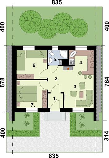 Lublana 2 C dom mieszkalny (zabudowa szeregowa) - Rzut parteru - segment B