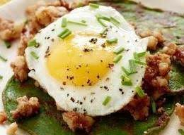 Corned Beef Hash Over Spinach Cakes Recipe