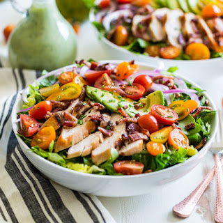 Grilled Chicken BLAT Salad with Avocado Ranch Dressing.
