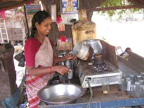 Photo: A rare Chai lady outside the Ramana Maharshi Ashram India Jan 2005