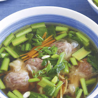 Beef Wonton Soup with Asian Greens.