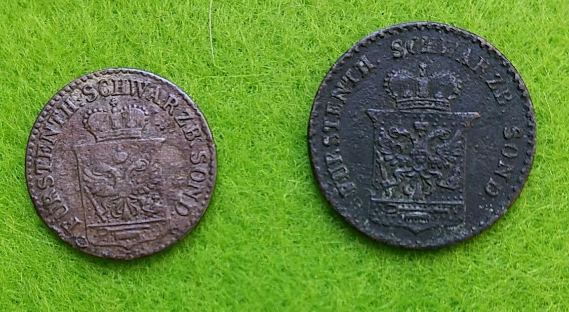 Scheidemünzen - 1 Silbergroschen 1846, 1 Pfennig 1858