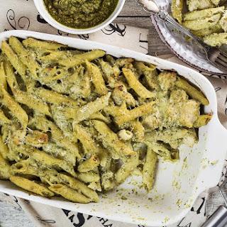 Basil Pesto Chicken Pasta Bake.