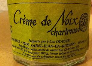 Photo: Crème de Noix Chartreuse... Ingrédients : noix, sucre de canne  et Chartreuse. Cave Noisel à Saint-Jean-en-Royans.