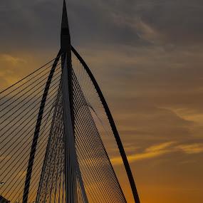 penghujung mega by Faareast Mk - Buildings & Architecture Bridges & Suspended Structures ( abstract, orange, connect, putrajaya, teksture, bridge )