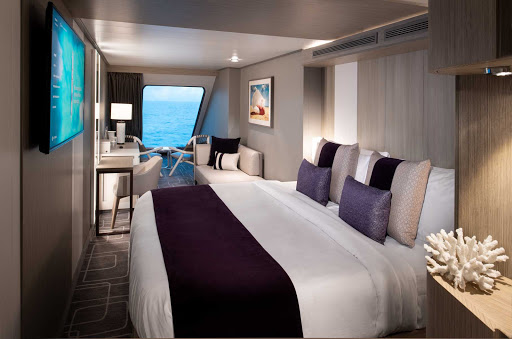A Deluxe Oceanview stateroom on Celebrity Edge class ships.