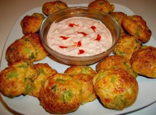 """Spicy Vegetable Cheese Balls & Sauce """"Made these tonight and my family..."""