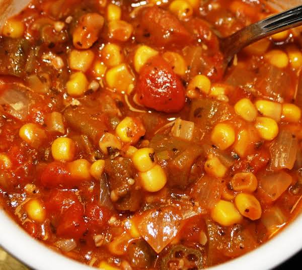 Stewed Okra, Tomatoes & Corn