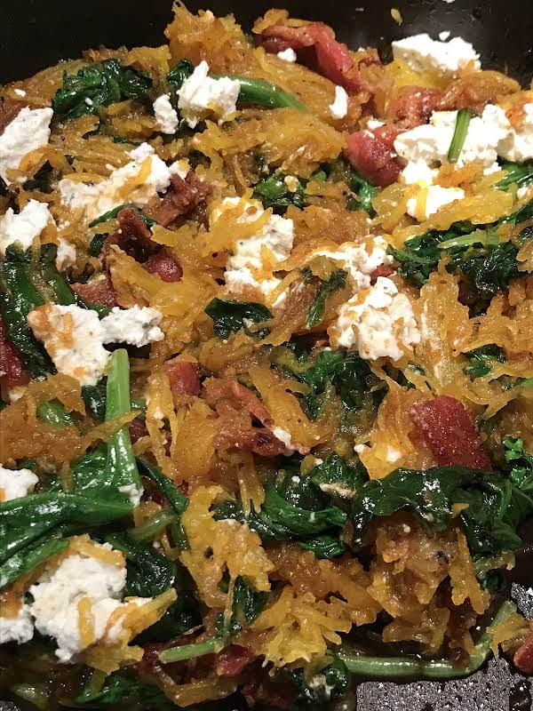 Spaghetti Squash W/bacon, Spinach, And Goat Cheese