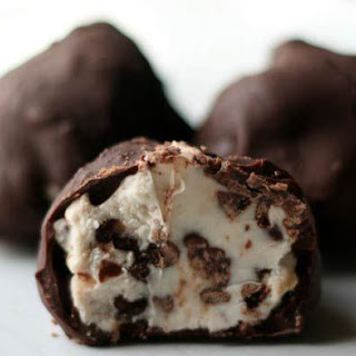 Chocolate-Covered Chocolate Chip Cheesecake Bites.