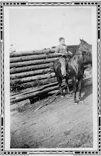 Photo: With lots of horses for the logging operation, Donald had the opportunity to learn to ride. In his teens, he worked in the saw mill.