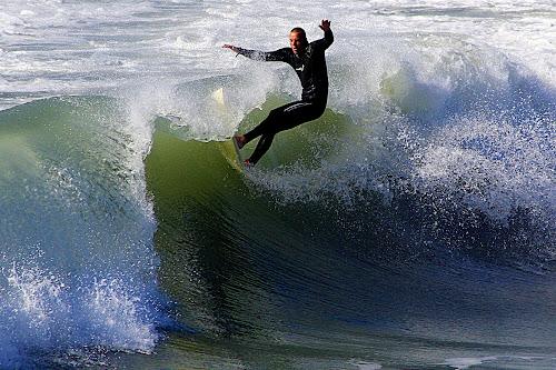 Surfing At New Brighton Beach - Marine Parade, New Brighton, Christchurch by Phil Le Cren - Sports & Fitness Surfing ( pwcwatersports, surfing, sport, surf )