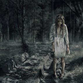The Hunted by KT Allen - Digital Art People ( girl, digital art, trees, people, woods, composite, portrait )