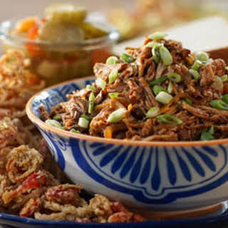 Slow-Cooker Pulled Pork with Fried Shallots and Chiles.