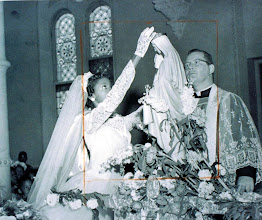 Photo: 1955 May Procession_Crowning of Mary w Fr. Miller_St Cyprian Parish