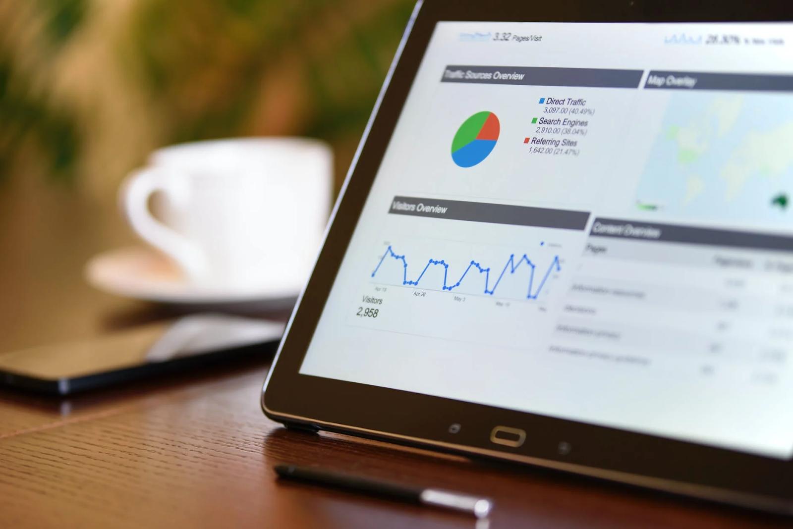 Tablet exibindo estatísticas -levantamento de requisitos de software