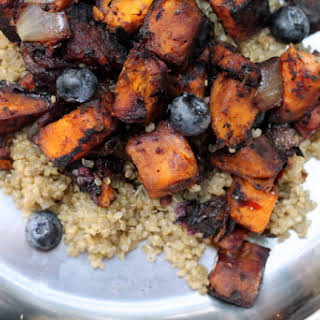 Campfire Roasted Sweet Potato and Blueberries.