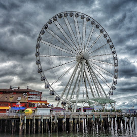 Great Wheel by Mary Waters - Digital Art Places ( digital photography, ferris wheel, cityscape, seattle )
