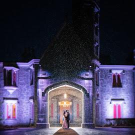Rain Tilt Shift by Drew Noel - Wedding Bride & Groom ( tilt-shift, backlit, drew noel photography, rain shot, fun, rain )