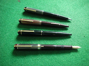 """Photo: Eversharp """"Skyline"""" pens.  As with the pencils, these were produced in a dizzying array of models. They are very fine writers with excellent nibs. The caps were inspired by ancient Greek helmets.  A version was made with their early ball-point (the CA  - for Capillary Action) but I am not sure whether the example at the top is an original (it's not!).   Ball-point pens had been considered in the 1800's and in 1888 one was patented by a John Loud but was not a commercial success. In 1938 two Hungarian brothers - Georg and Lazlo Biro - invented a properly working version; they went to Agentina and patented it, selling the rights to another pen company - Eterpen - which subsequently transferred them to Eversharp in 1945. However, the company became involved in a ruinously expensive lawsuit over them and, worse, had launched its version of the CA too soon, resulting in poor quality/reliability and almost the entire production in 1945 was returned. The CA became famous as """"The Pen That Ruined Eversharp""""."""