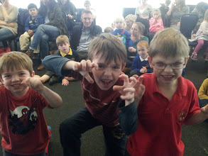 Photo: Just a few of the 88 roaring kids at the Dinosaur Roar! event at Cheltenham Literary Festival yesterday! Great fun! Off to schools in Winchester for two days now...  #cheltfestival  #DinosaurRoar