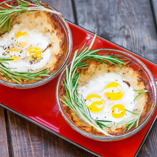 Quail Eggs in Hash Brown Nests.