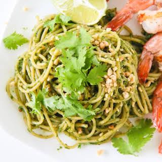 Cilantro Peanut Pesto Pasta with Shrimp.