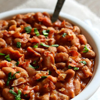 Homemade Slow Cooker Pork and Beans