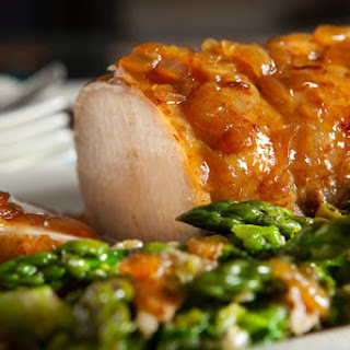 Pork Top Loin Roast With Asparagus, Spring Onion and Butter Lettuce