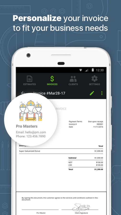 Free Online Invoicing Pdf Contractor Estimate  Invoice  Android Apps On Google Play Where Is Tracking Number On Usps Receipt Excel with Invoice App For Iphone Contractor Estimate  Invoice Screenshot Ford Escape Invoice Price