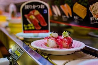 Photo: Delicious looking sushi passing by my table at Kappa Zushi