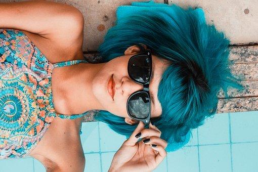 Blue, Sunglasses, Woman, Swimming Pool