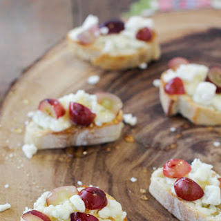 Gorgonzola, Grape and Honey Crostini