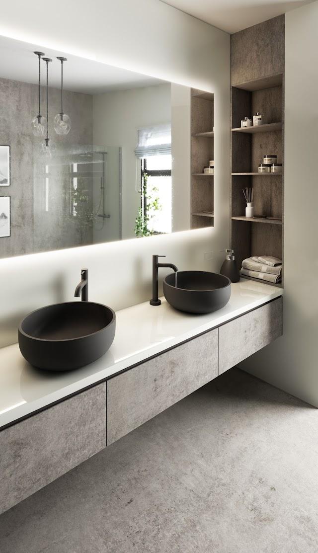 Dekton Slim, color Kreta en armarios y solería baño.
