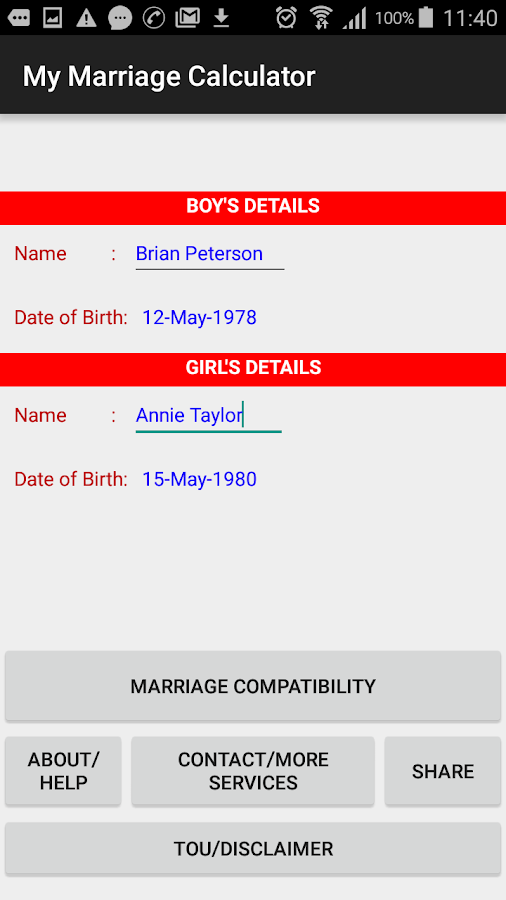 Matchmaking based on date of birth