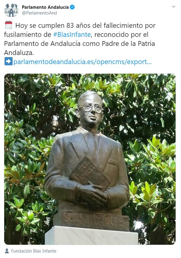Tuit del Parlamento Andaluz - @ParlamentoAnd
