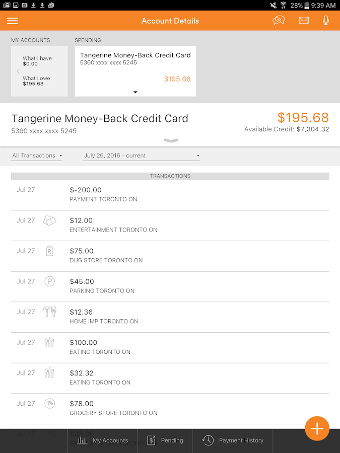 Tangerine Banking- screenshot