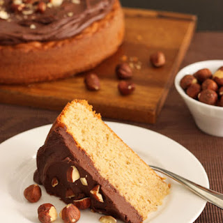 Hazelnut Butter Cake with Milk Chocolate Ganache.