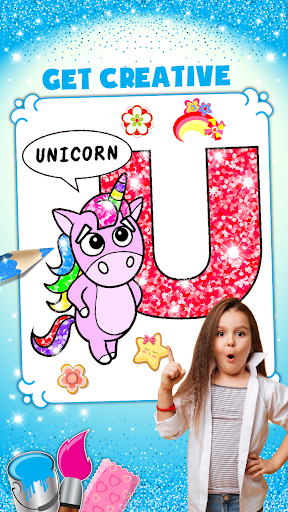 Glitter Number and letters coloring Book for kids screenshot 4