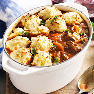 Lamb And Rosemary Casserole With Parmesan Dumplings.