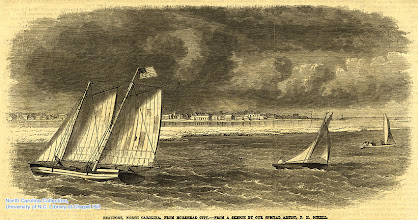 """Photo: """"Beaufort, N. C., from Morehead City."""" Frank Leslie's Illustrated Newspaper, April 9, 1864, p. 11."""