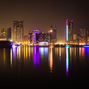 Corniche by Ricky Pagador - City,  Street & Park  Night ( architecture )