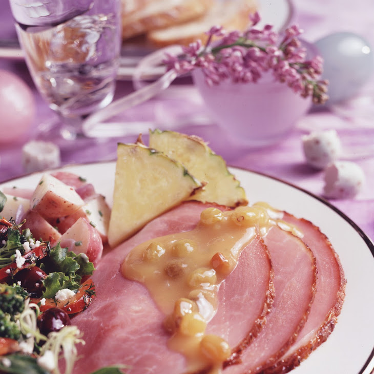 Glazed Ham with Pineapple-Raisin Sauce