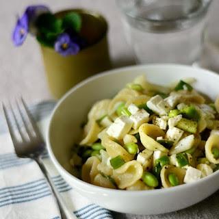 Edamame & Cauliflower Pasta Salad with Feta.