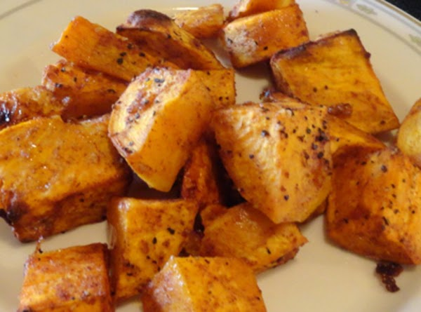 Roast sweet potatoes in oven, stirring occasionally, for about 40 minutes or until they...