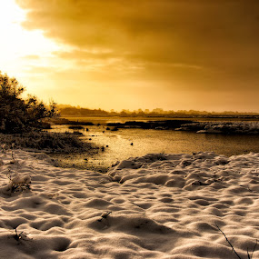by Leigh Brooksbank - Landscapes Sunsets & Sunrises ( winter, cold, ice, sunset, creek, snow, sunrise, alresford creek, boat )