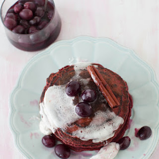 Red Beet Pancakes with Sweet Grape Sauce