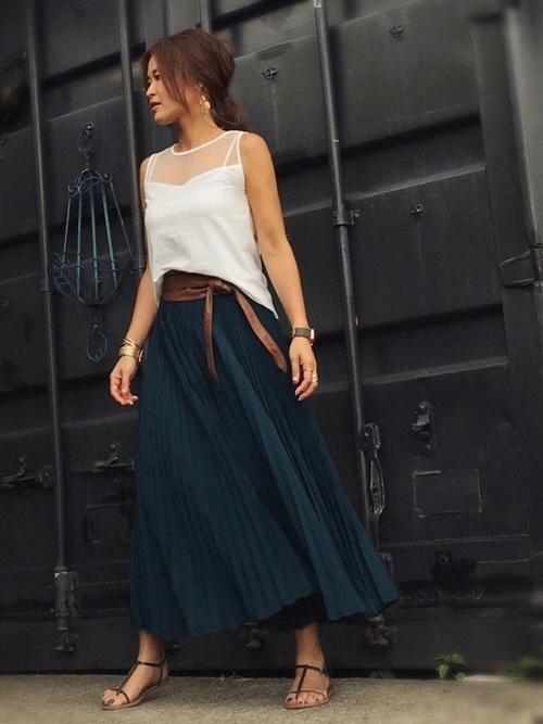 ad351a88e39d40 プリーツスカートコーデ集♪年中大活躍のプリーツスカート夏の着こなし術 ...