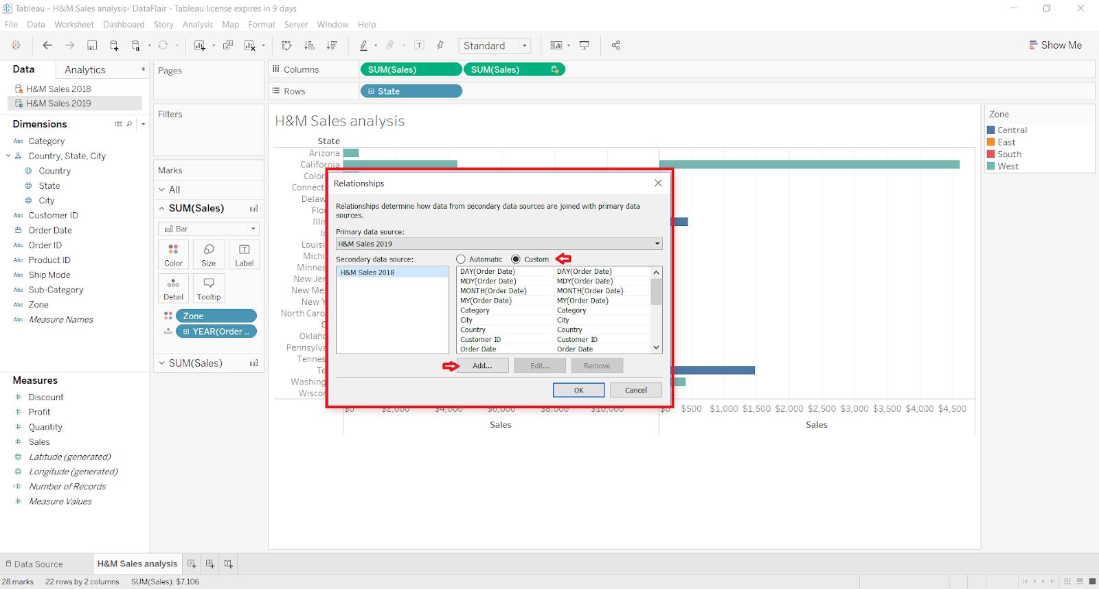 custom option in tableau data blending